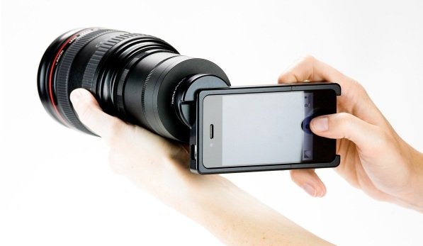 iPhone SLR mount, use your Canon or Nikon lenses with your iPhone 4